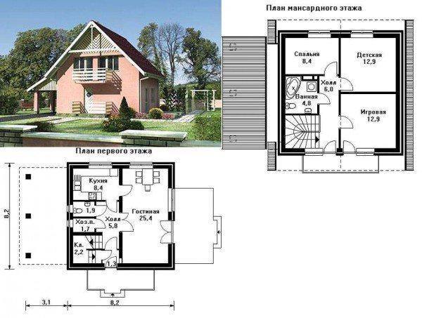 планировка дома 7 на 9