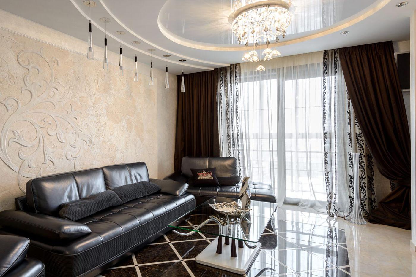 Выбираем портьеры для гостиной: обзор модных тенденций