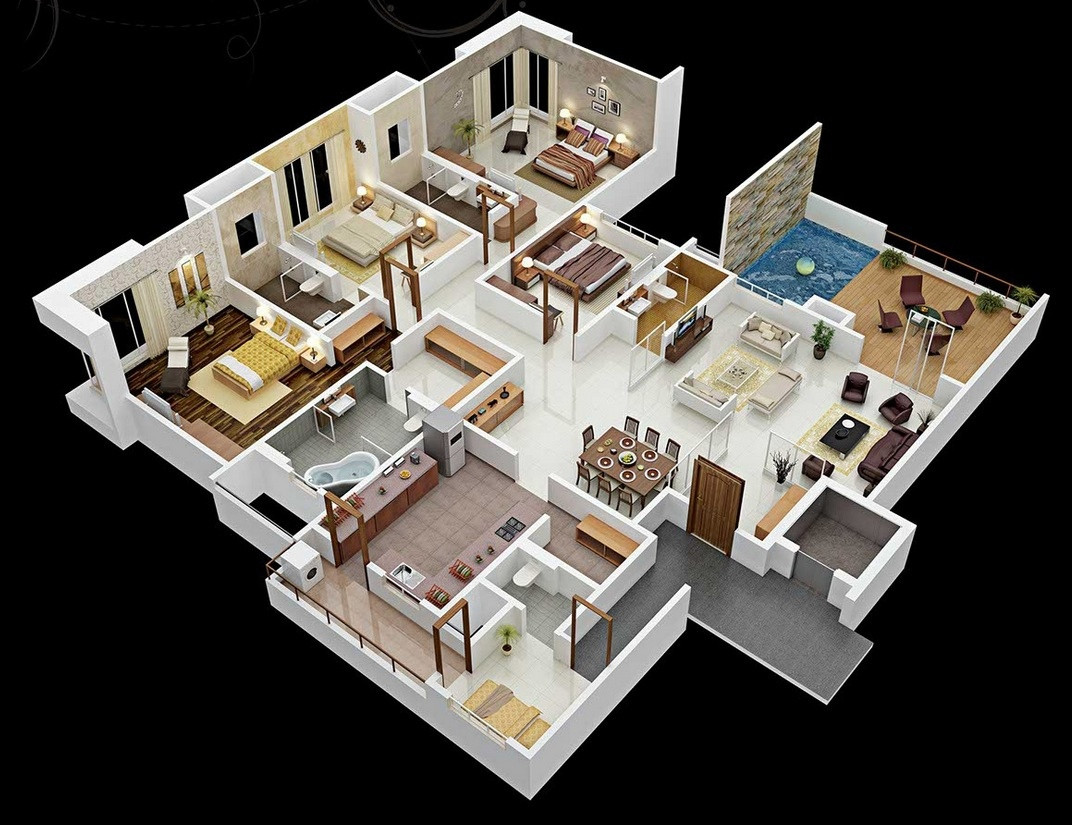 Проект и планировка дома с 4 спальнями