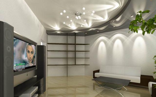 двухуровневые натяжные потолки с подсветкой фото