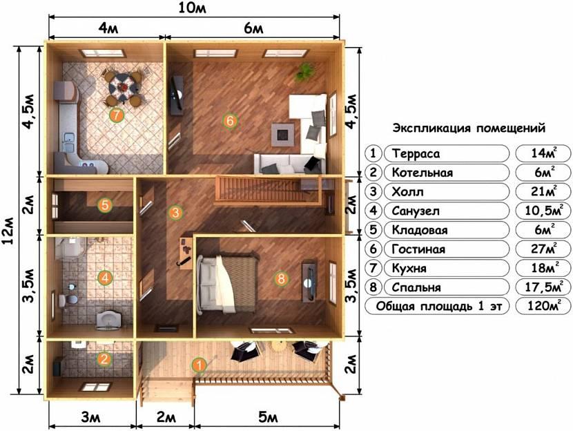 дом 6 на 12 одноэтажный