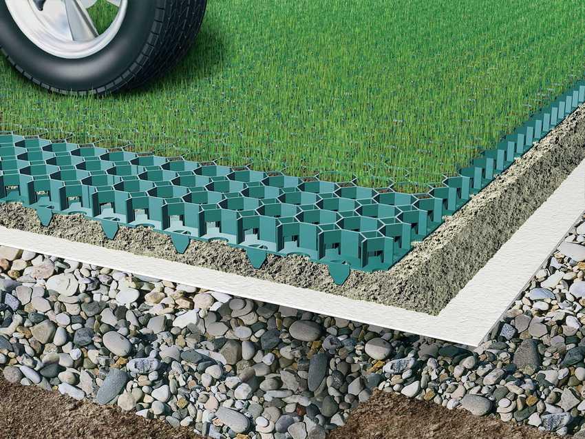 Бетонная газонная решетка (георешетка, плитка) для парковки