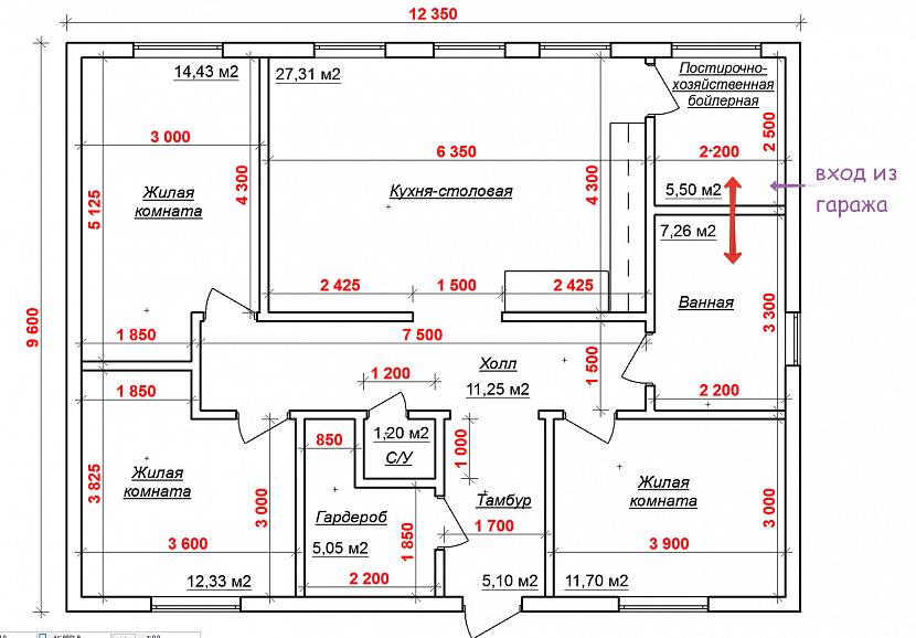 Планировка и план дома - чертежи и фото