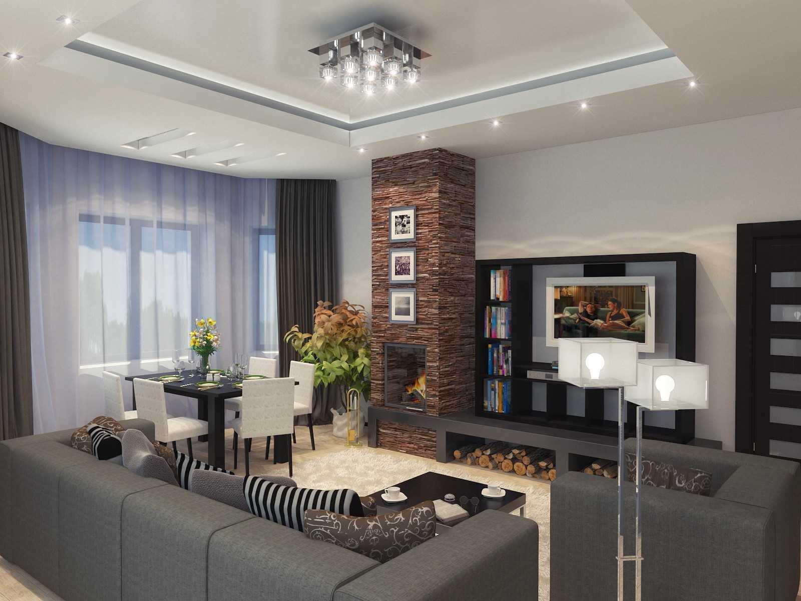 интерьер гостиной в частном доме фото