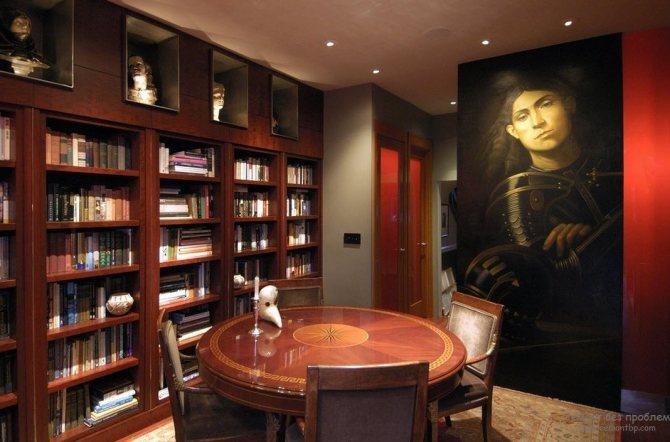 Способы оформления интерьера гостиной с библиотекой