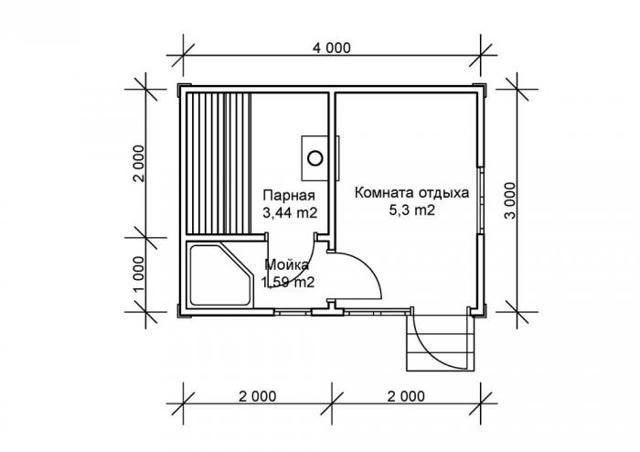 каркасная баня 4х6 проекты