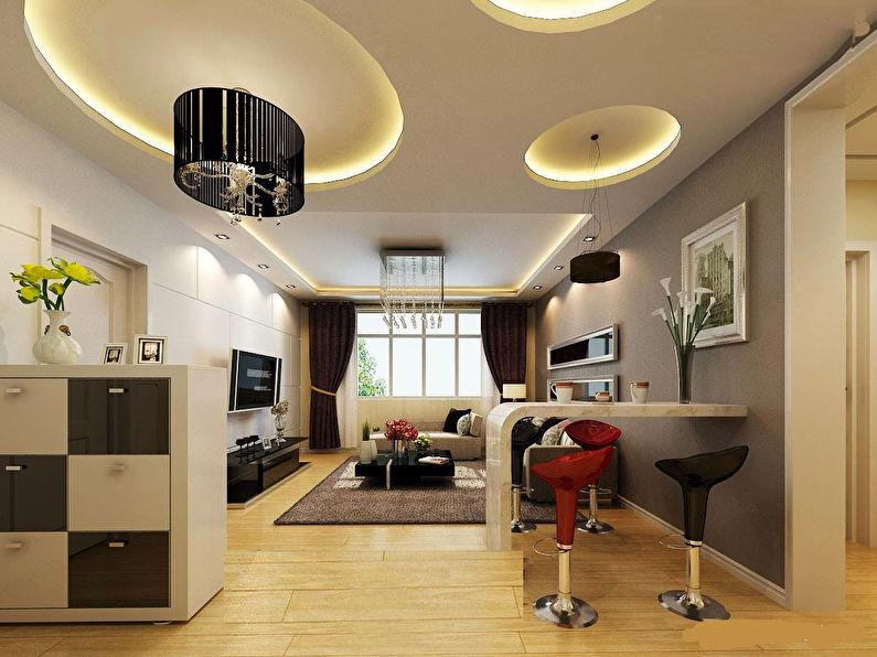 Дизайн потолка в гостиной (82 фото): красивые примеры-2020 оформления зала площадью18 кв. м, современные навесные варианты, какой потолок лучше сделать в квартире