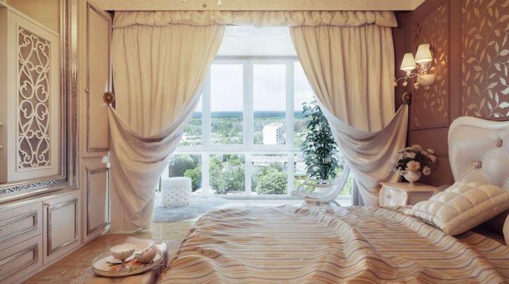 как оформить окно в спальне шторами фото