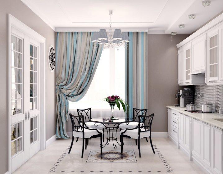 Шторы в кухню-гостиную: разновидности, варианты дизайна и правила выбора
