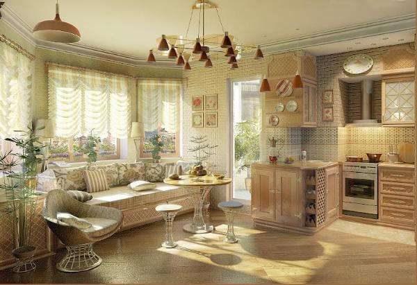 разделение кухни и гостиной на две зоны
