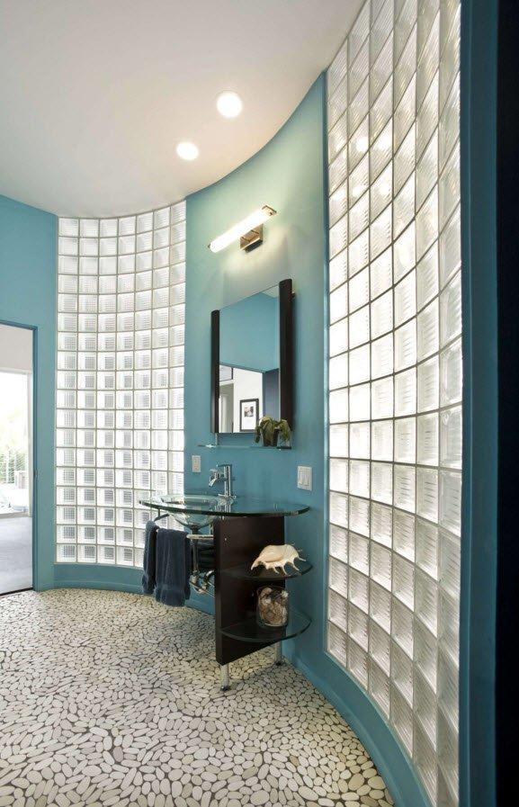 стеклоблоки в интерьере ванной