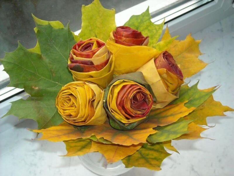 Осенний букет из листьев своими руками с фото и видео