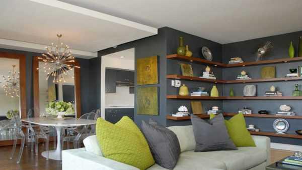 оливковые стены в интерьере