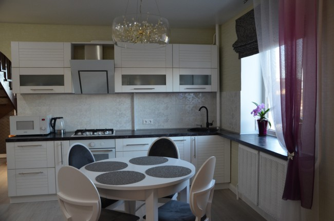 тюлевые шторы на кухню фото