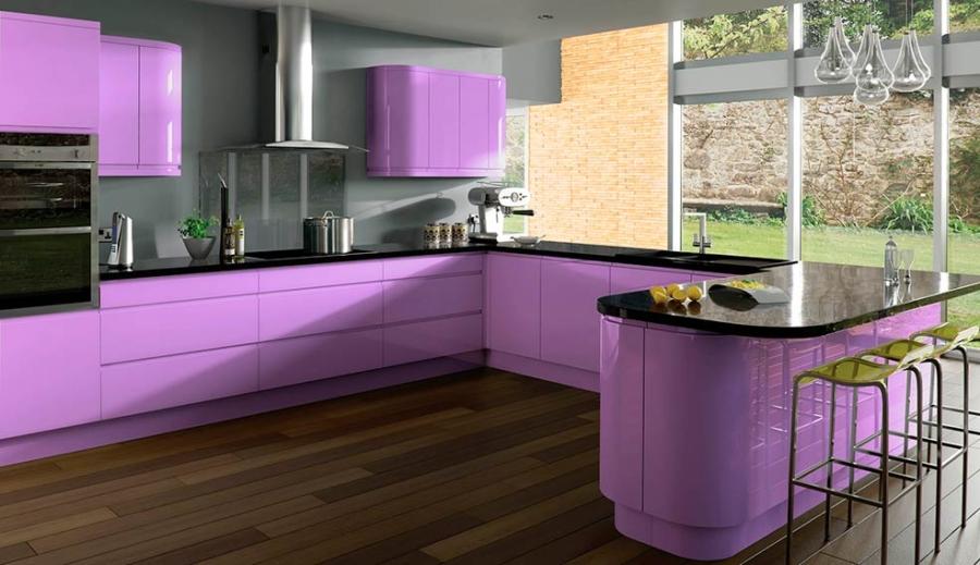 кухонный гарнитур фиолетовый