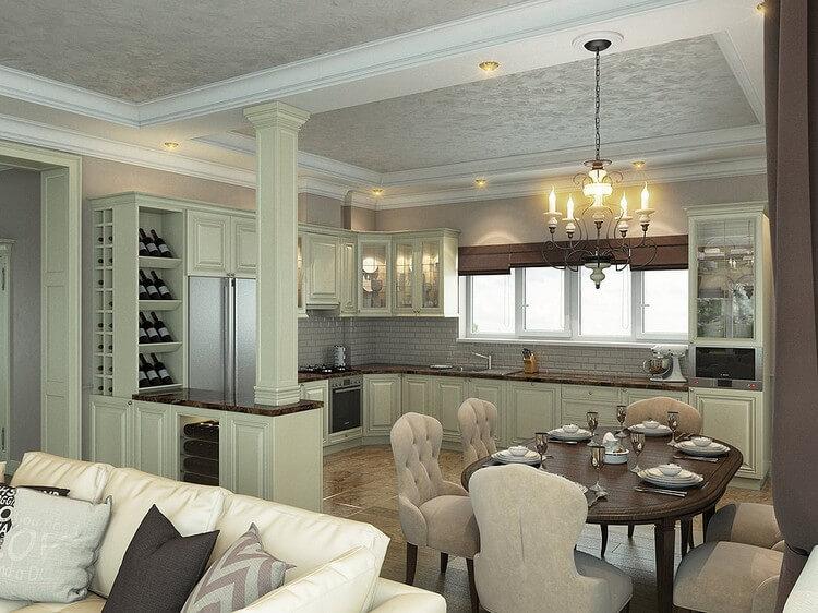 Зонирование кухни и гостиной (64 фото): дизайн комнат, раздвижная стена в столовой с барной стойкой, варианты оформления пола