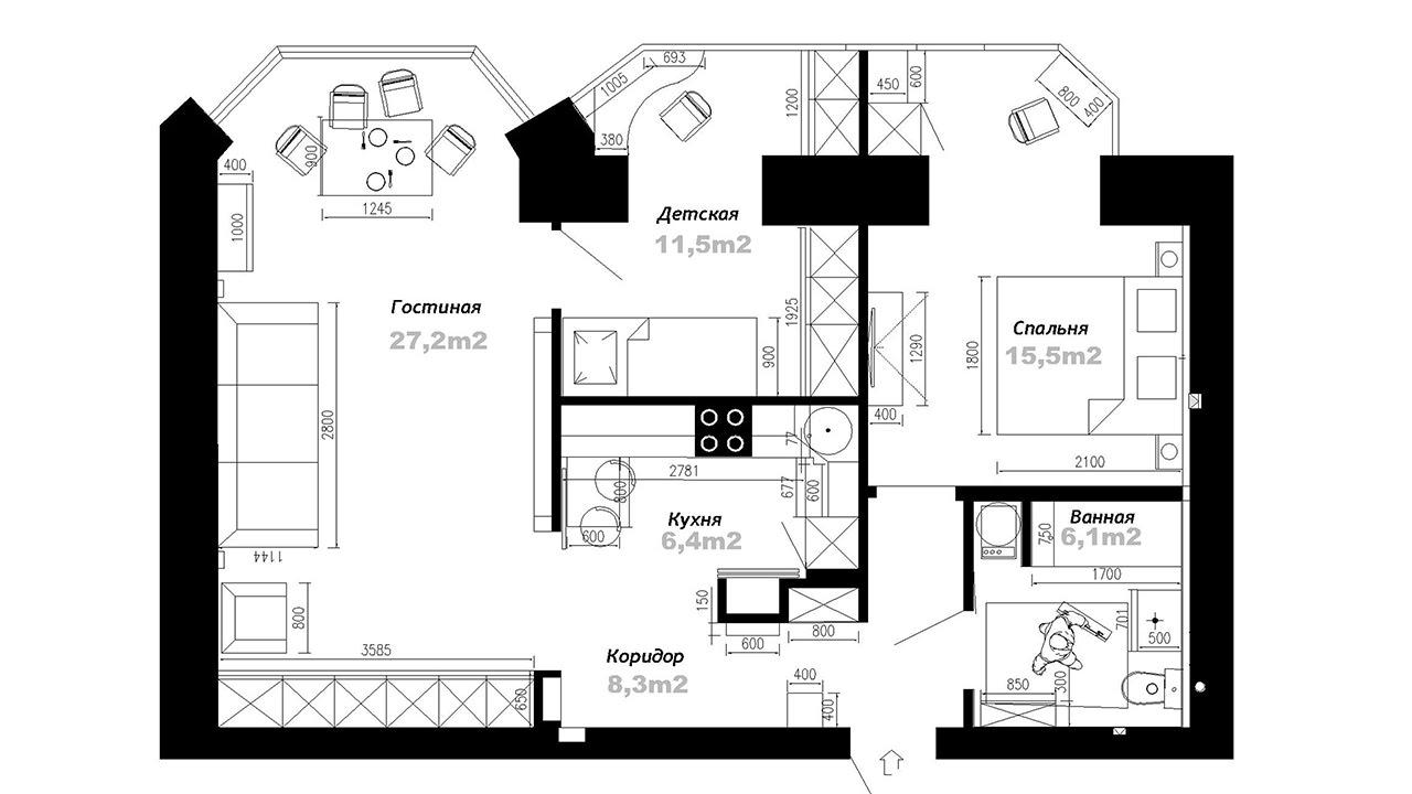 Планировка брежневки 2 комнаты