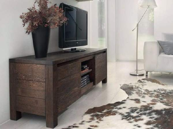 Тумбочка под телевизор в интерьере - фото примеров