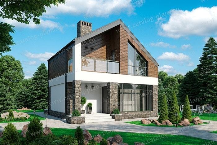 дом из клееного бруса с панорамными окнами