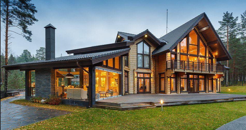 Дом из клееного бруса - фото внутри и снаружи, проекты с планировками