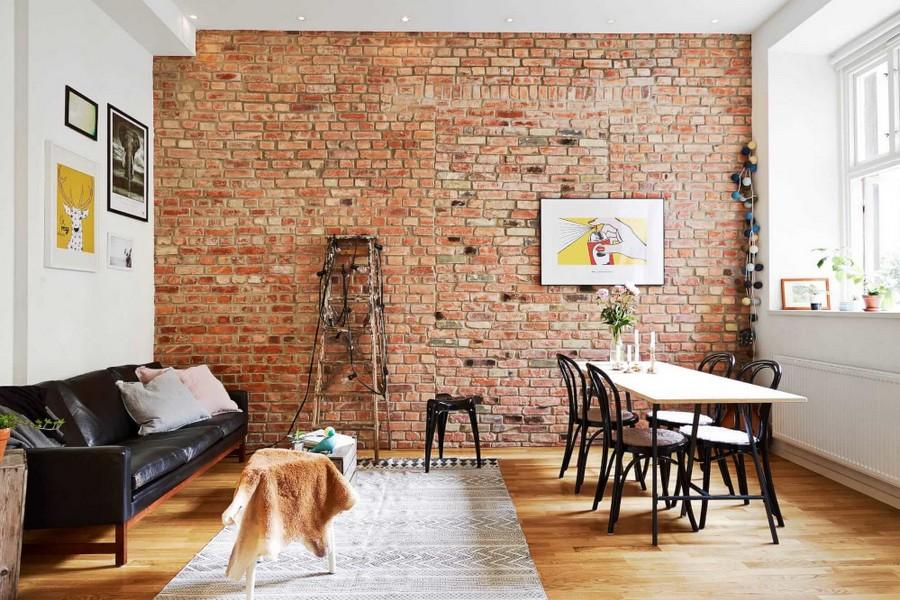 Отделка белой кирпичной стены своими руками для интерьера гостиной и коридора