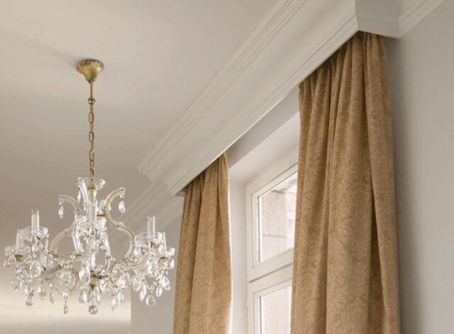 Как к потолку из гипсокартона крепить карниз для штор?