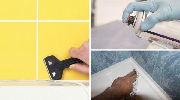 как удалить старый силиконовый герметик в ванной