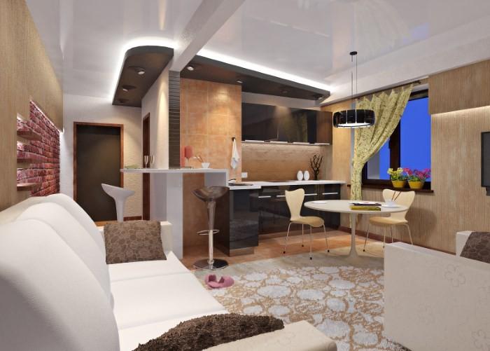 дизайн комнаты студии с кухней