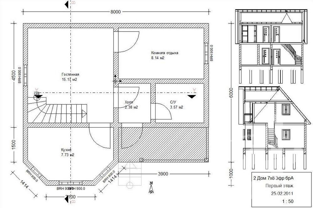 Проекты домов 7 на 8: выбор проекта для строительства дома, стоимость в москве