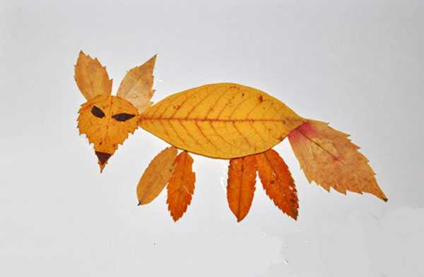 Аппликация из осенних листьев для детей младшей группы