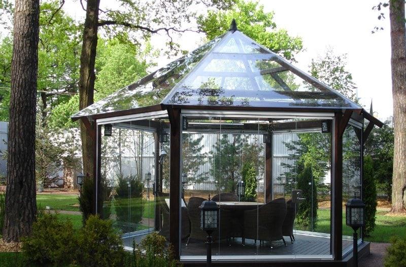 Как сделать красивую стеклянную беседку для украшения дачного участка