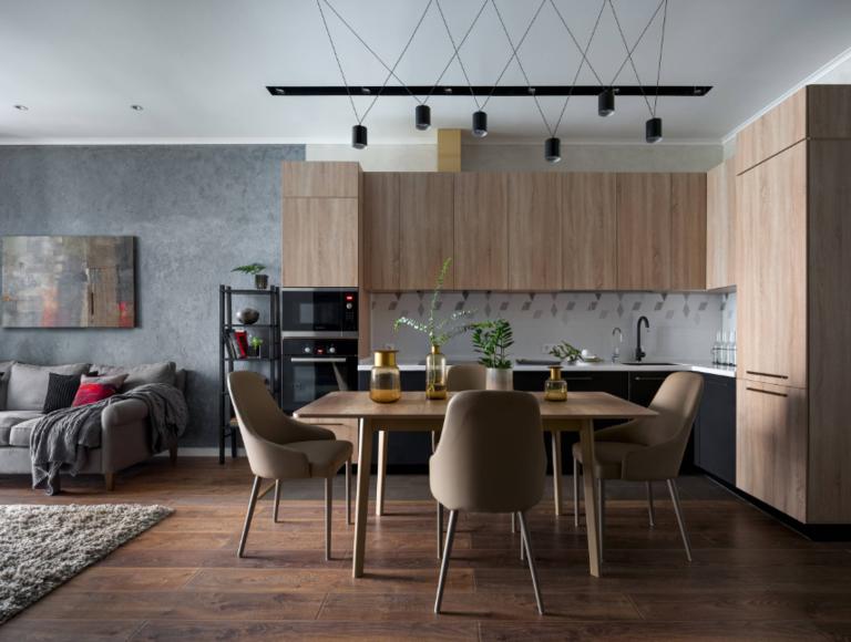дизайн проект кухни гостиной