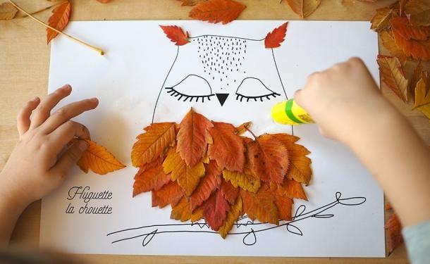 аппликация из листьев и цветов