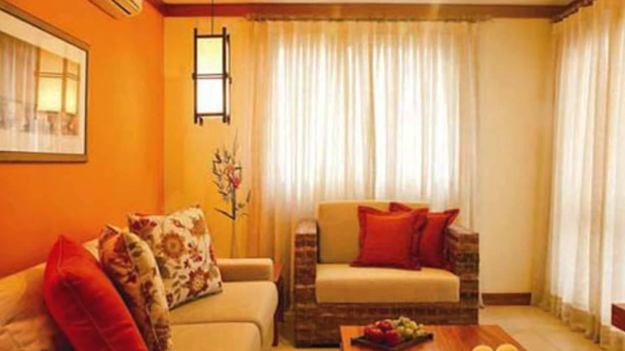 Оранжевый цвет в интерьере гостиной, спальни, кухни, прихожей. фото