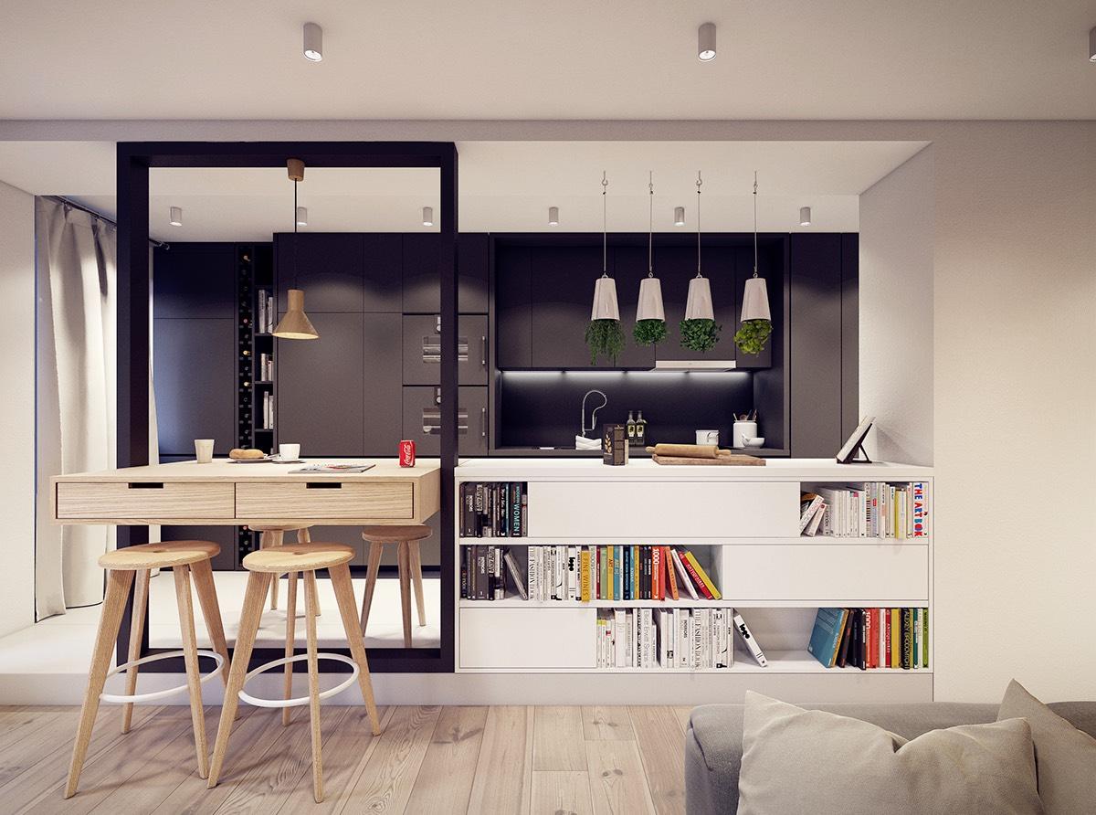 Способы организации рабочих точек на кухне-гостиной 24 квадратных метра