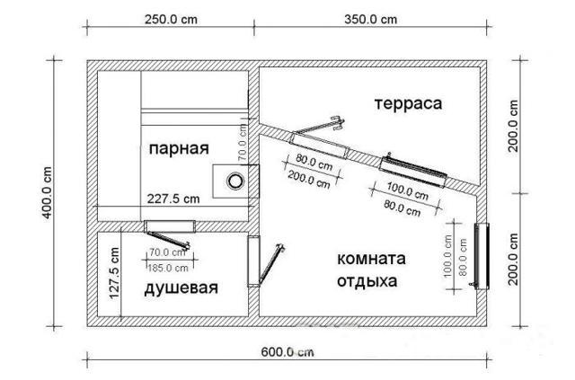 каркасная баня 6х4 проект