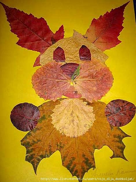 аппликация из березовых листьев