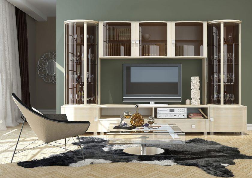Стенка в гостиную в современном стиле, классическая белая глянцевая стенка в гостиную под телевизор