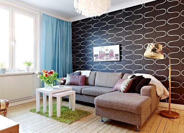 Черные обои в интерьере: 80+ современных фото и идей оформления стен
