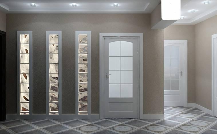 стеклоблоки в интерьере гостиной