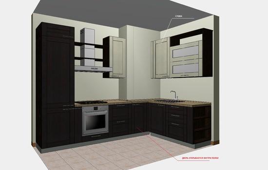 кухня с выступом вентиляционного короба