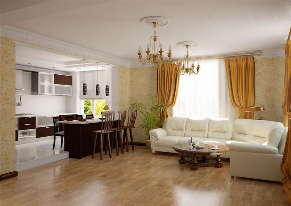 Зонирование кухни и гостиной перегородкой: варианты разделения квартиры