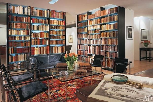 Интерьер гостиной с библиотекой