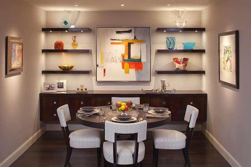6 вариантов навесных полок в гостиную в современном стиле