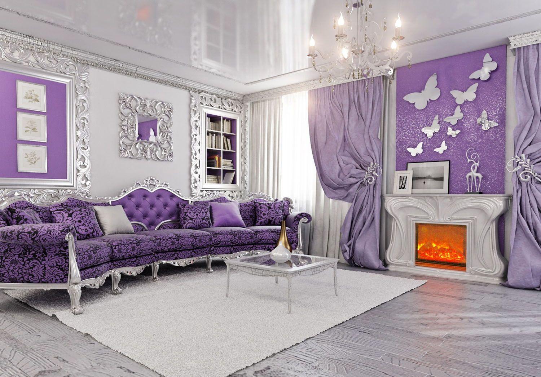 Выбираем фиолетовые шторы и тюль в интерьер спальни и не только (12 фото)