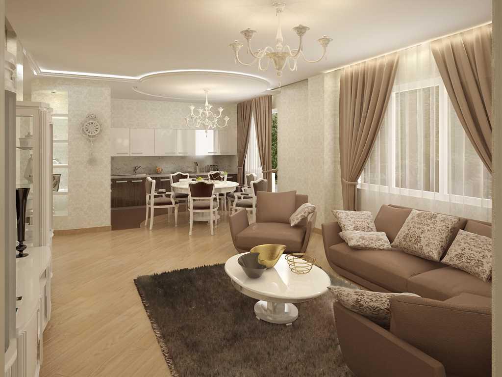 Стильный интерьер гостиной в частном доме: фото и 3 плюса совмещения