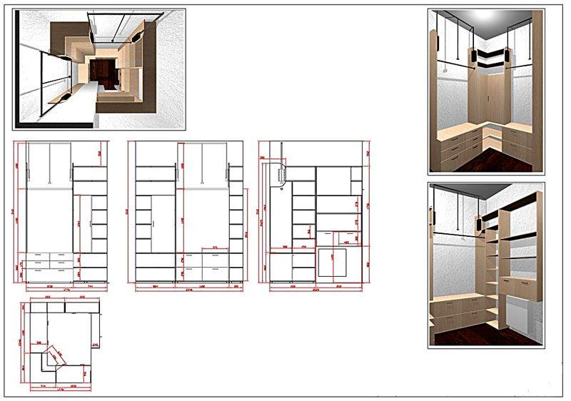 Гардеробная комната - планировка с размерами, правильная компоновка
