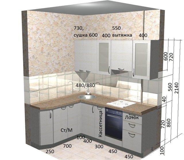 глубина верхних шкафов кухни стандарт