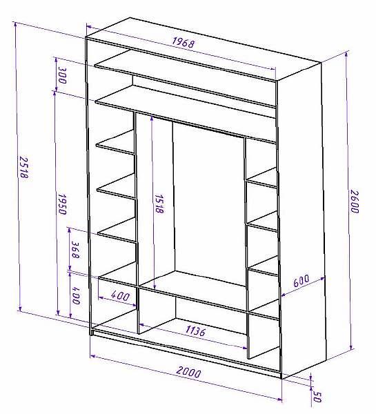 стандартная глубина шкафа для одежды