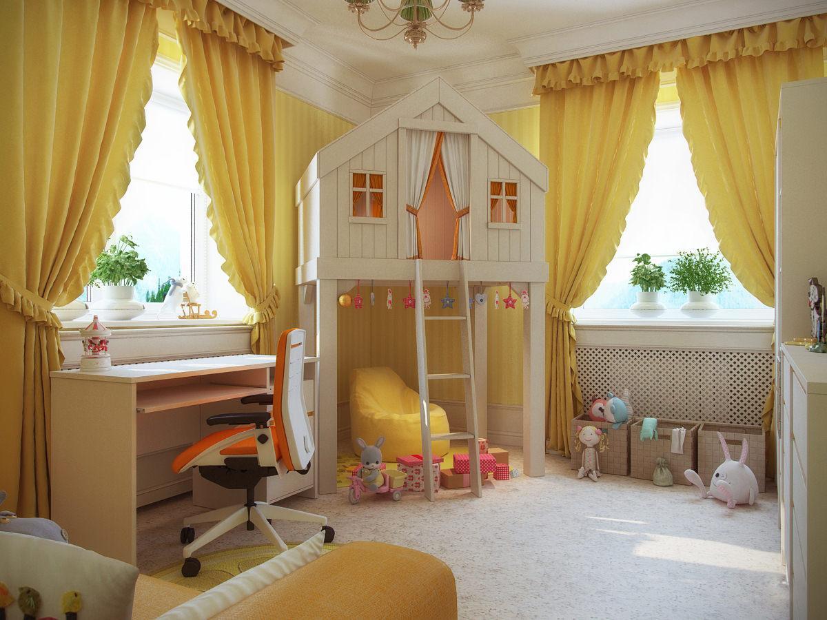 Выбор и описание желтых штор в интерьере